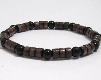 Mens Wood Bracelet, Chakra Mala Beads Bracelet, Groomsmen Yoga Husband Dad Gifts on a budget Under 30, Black Onyx Healing Crystals