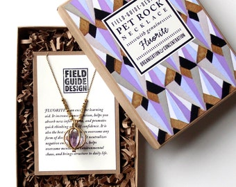 Purple Fluorite Pet Rock Necklace for Organization and Concentration - NEW Larger Size!