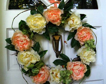 Summer wreath, peonies & hydrangea wreath, peach, yellow, green, with vine accent, silk flowers, French country cottage chic style