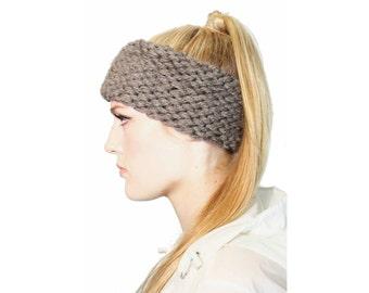 Ultra Thick Headband, hand knit in slate gray, chunky knit headband, women's fall accessory