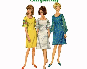 1960s Dress Pattern 36 Bust Simplicity 6997 A Line Scoop Neck Square Neck Dart Fitted Mod Bell Sleeve Dress Womens Vintage Sewing Pattern
