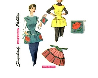 1950s Apron Pattern Simplicity 4492 Cobblers Bib Full Kitchen Half Hostess Aprons Pot Holders Big Pockets Womens Vintage Sewing Patterns