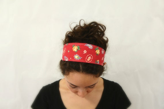 Reversible Fabric Headband / Pink Tiny flowers and roses and paisley on red