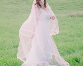 Blush Pink or Peach Cathedral Drop Veil with Sheer Organza Ribbon Edge - Medina