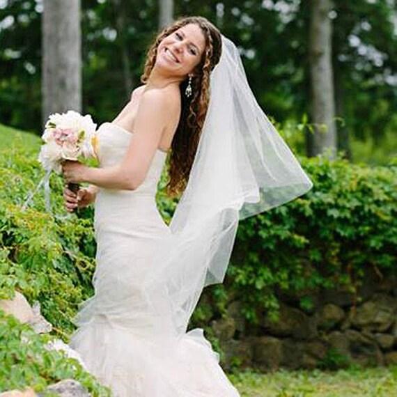 Simple Waltz Length Drop Style Wedding Veil With Smooth Cut