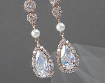Rose Gold Bridal Earrings, Wedding jewelry, Crystal Bridal earrings, Swarovski Halo Bridesmaids, Chelsea Crystal Drop Earrings
