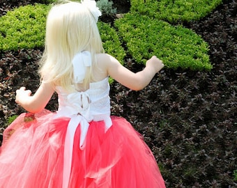 Coral Flower Girl Tutu with White Rosette Fabric Tie top for Weddings, Flower Girls, Special Occasions, Toddlers to Girls Size 10