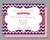 Pink and navy blue baby shower invitation, glitter sparkle chevron Printable Digital design Baby girl shower or bridal shower