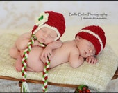 Christmas Hats for Twins - Boy and Girl, newborn photography prop - Made to Order