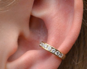 Channel Set Ear Cuff- Single Row - Gold Vermeil- Single Side or Pair