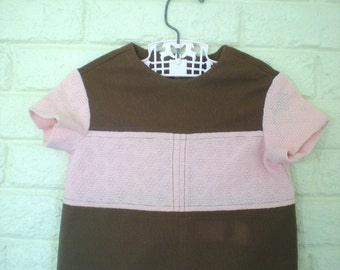 Mod Pink and Brown Dress, Size 12 months