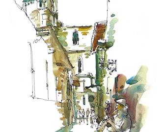 Barcelona, Spain, Gothic Quarter, Barri Gotic musician watercolor sketch- archival print from an original sketch