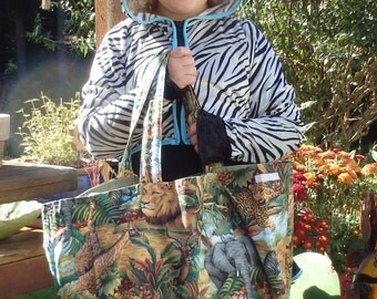 African Jungle Animals Jumbo Lined Cloth Market Tote with Inside Pocket