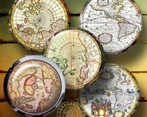 Ancient Maps -  2.625 inch circles for 2.25 inch Mirrors, Buttons - Digital Collage Sheets CG-682M