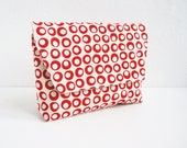 Hand-Printed Pouch, Christmas Gift,  Organic Cotton, Red Pouch, Dots, Cosmetic Pouch