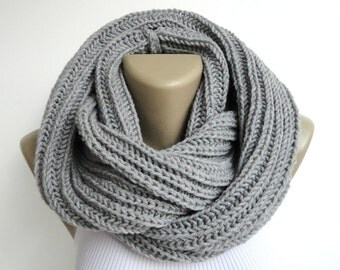 Knit Scarf Winter Scarf Women Knit Infinity Scarf Scarves Men Scarf Winter Accessories Valentines Day Gifts / Gifts For Her senoaccessory