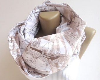 CHRISTMAS, HOLIDAY GIFT, Gifts For Her, Gifts For Women world map scarf men scarf sailing Boat Infinity Scarf Spring Summer Scarf