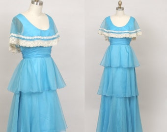1970's tiered maxi dress in sky blue