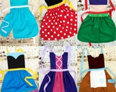 Set of 4. Your Choice of Disney inspired Princess APRON S. Fits 12-24 mo 2t 3t 4 5 6 7 8 9 10 12 Dress up Costume Toddler Baby Girl Birthday