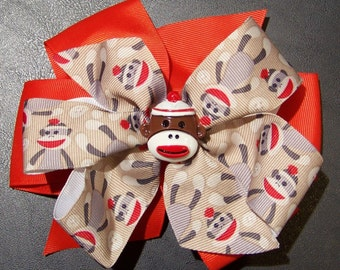 Sock Monkey Hair Bow / Red & Brown / Double Stacked / Accessory / Infant / Baby / Girl / Toddler / Custom Boutique Clothing