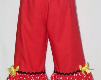 Red Ruffle Pants / SHORTS / Minnie Mouse / Disney / Boutique Pants / Cute / Girly / Baby / Girl / Toddler / Custom Boutique Clothing