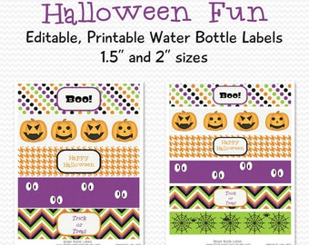 Water Bottle Labels, Halloween Fun, Holiday Party Favor, Party Supplies, Halloween Party Decoration -- Editable, Printable, Instant Download