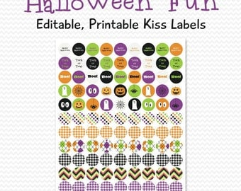 Halloween Party Favors, Chocolate Candy Labels, Chocolate Drop Circle Stickers, Halloween Party Supplies -- Editable, Printable, Instant