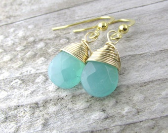 Chalcedony Earrings Teardrop earrings-gemstone earrings-bridesmaid earrings-blue-green chalcedony-wire wrapped