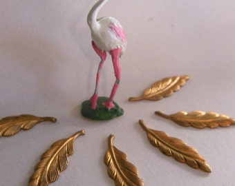 Brass Feather Findings (4pc)