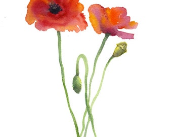 8x10 FINE ART PRINT of Poppies Art by Vickie Sue Cheek, Great Wall Decor Gift