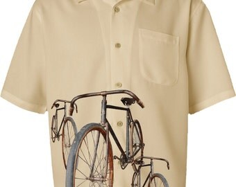 Men's Bicycle Shirt-Vintage Bicycles-Casual Bike Shirt-beige,Road bike shirt,gift for cyclists,bicycle gift,gifts for him