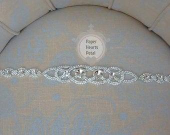 Infinity Links Crystal Rhinestone Bridal Belt / Sash for Wedding Dress - You Choose Ribbon Color