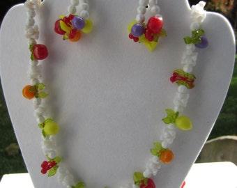 Great Plastic Fruit Necklace and Clip Earring Set