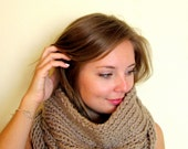 chunky knit cowl scarf - beige