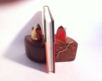 Cheese Book Ends with Mice Poking Out - Cheese Wedges Bookends Solid Carved Wood & Brass Mouse
