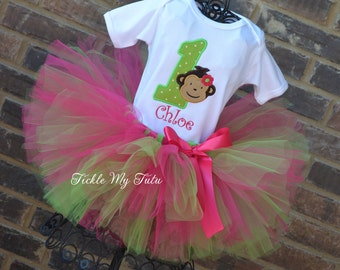 Mod Monkey Birthday Tutu Outfit-Hot Pink and Lime Monkey Birthday Outfit-Monkey Party Tutu Set-First Birthday Monkey Outfit