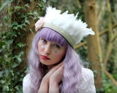 Ivory feather headband, wedding hairpiece, flapper feather crown