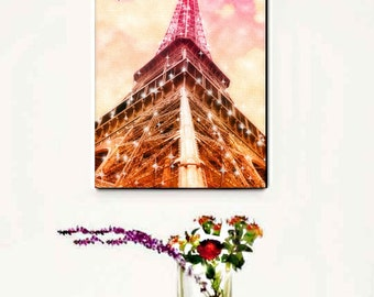 Eiffel Tower Canvas Wall Art, Pink Paris Canvas Art Print, Starry Lights, Pink Paris Wall Art, Home Decor, GIft Idea