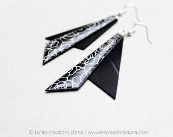 geometric black earrings statement earrings modern earrings vinyl record jewelry reclaimed triangle earrings hypoallergenic earrings
