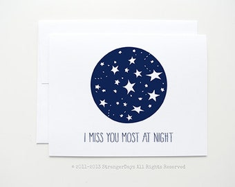 """I miss you Card """" I Miss you Most at Night """" Greeting Card. Love Card, Missing you, Long Distance Relationship Card, Thinking of you,"""
