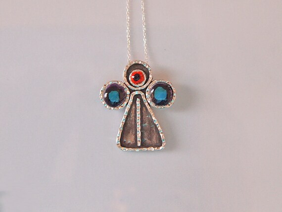 Angel Necklace, Angel Jewelry, Sterling Silver, Oxidized Silver, Jewelry Designers, Handmade by Artisan Designer
