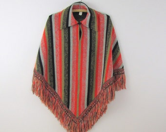 On Sale Vintage 1970s Striped Knit Poncho Cape in Black Orange & Taupe