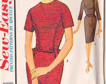 PATTERN Advance 3267 Size 18 Panelled slim dress with self belt or belt and bow at waist Vintage (uncut)