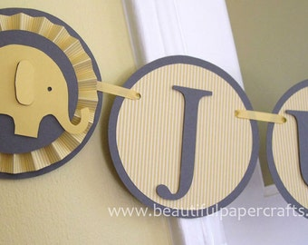 Gray and Yellow Baby Shower It's a Boy - Baby Elephant Banner Elephant Baby Shower Decorations - Rosettes Custom Name Banner  Custom Colors