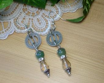 Transit Token Earrings ~ St. Louis Missouri ~ Initial U Earrings ~ Aventurine Rhinestones Crystals