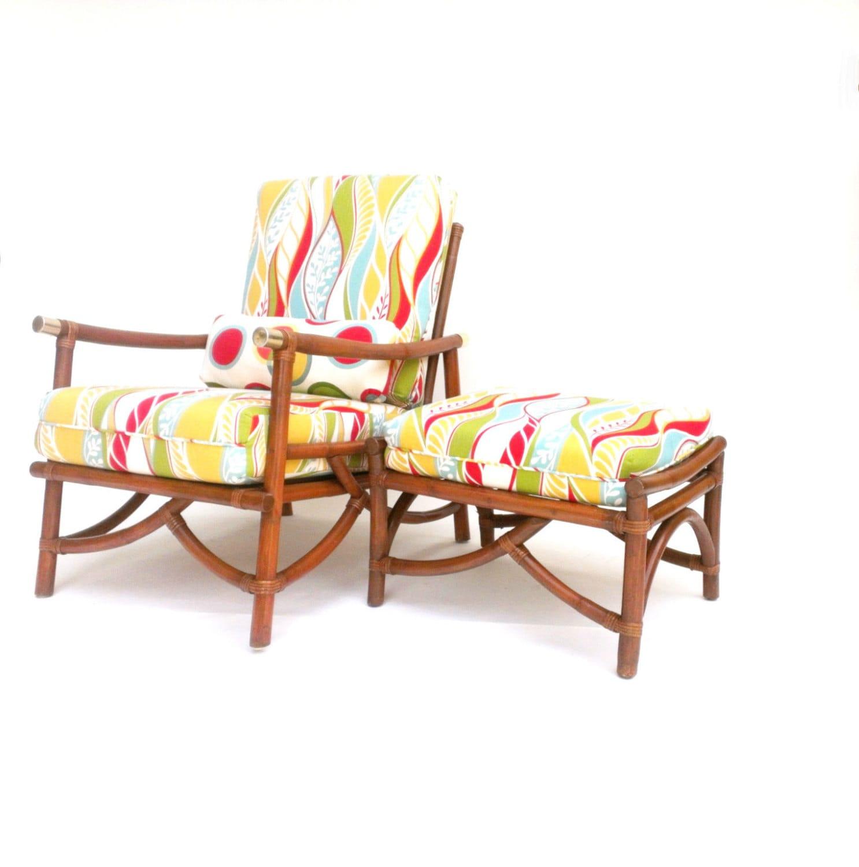 Mid Century Rattan Chair Ottoman Danish Modern Club Chair