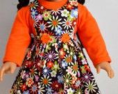 18 Inch Doll Floral Jumper, Handmade, Doll Sweatshirt, Orange Mock Turtleneck, Long Sleeve, Doll Hair Accessory, Fabric Covered Headband