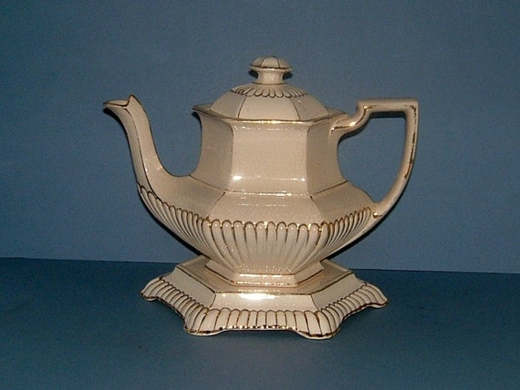 Antique Victorian Cream and Gold Gilded Vintage Teapot with Stand Staffordshire England