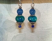Blue Adventurine and Chrysocolla Dangle Earrings - Carolyn Earrings