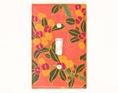Peach Orange Light Switch Cover - Yellow and Purple Flowers with Green and Gold Detailed Wallplate - Master Bedroom Decor Switchplate Cover